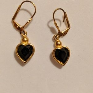 Black Onyx Heart Yellow Gold Earrings